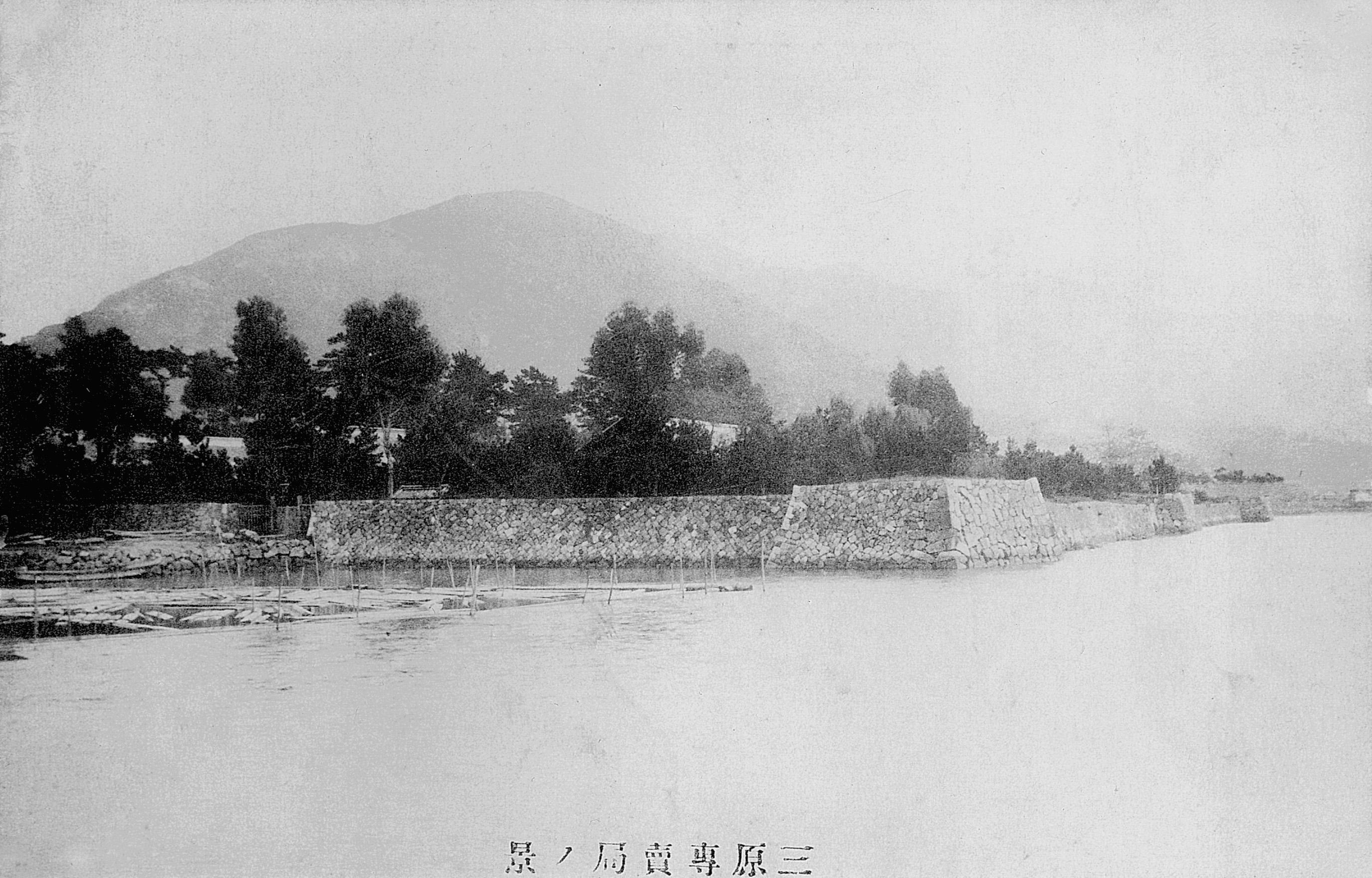 海から見た三原城