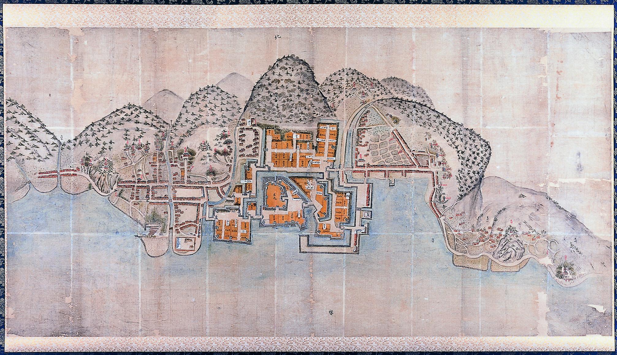 紙本著色備後国三原城下絵図